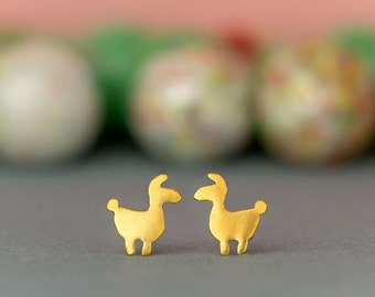 Tiny llama Earrings Llama Studs sterling silver Allpace stud earrings Lama gold studs Minimal Jewelry Kids Teen gift for her mom gift