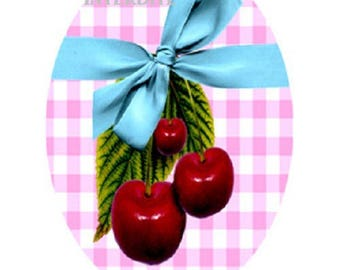 30x40mm, lovely cherry cabochons and blue bow