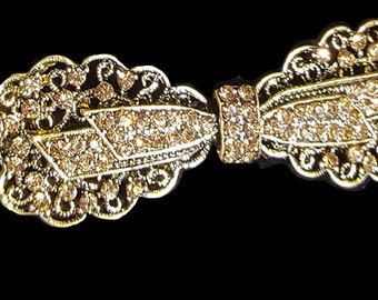 New Gold 4'' Bow With Amber & Clear Crystal Metal Head Band