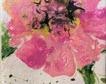PINK PETALS ACEO ~ Original Acrylic Painting