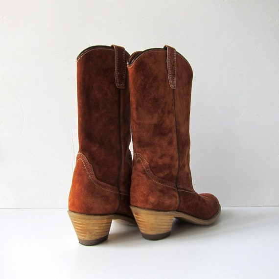 Booties Wooden Boots Vintage Suede Cowgirl Mid Stacked Heels Cowboy 70s Calf Boots Brown Womens 7 Pointy Rust Boho Leather Toes Boots WwqZtYxU