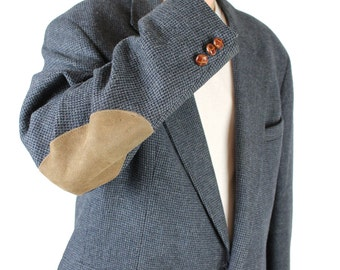 Vintage Elbow Patch Blazer 46 Slate Blue Gray Wool Professor Jacket Sports Coat Free US Shipping