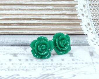 Green Rose Stud Earrings Dark Green Studs Flower Stud Earrings Green Rose Earrings Surgical Steel