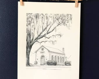 Bethesda Whitefield Chapel Savannah Pen and Ink Print