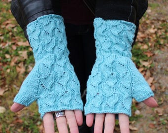 Cashmere and Merino Wool Hand Knit Baby Blue Fingerless Mitts