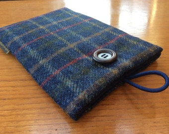 "Sleeve for iPad mini, 2, 3, 4, Tweed case, 7"" tablet cover, blue plaid wool"
