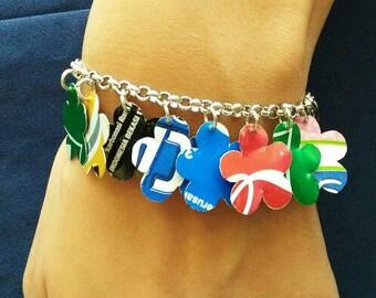 Charm bracelet soda can flowers, FREE SHIPPING, eco friendly Recycled soda can bracelet,  Charm Bracelet, stackable bracelets for women
