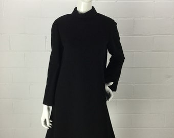 """Vintage 60s Geoffrey Beene Black Cocktail Dress, Long Sleeve Wool Trapeze Dress with Bell Sleeves, Mod Fashion, Rhinestone Buttons, B 40"""""""