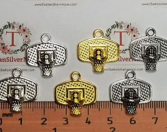 10 pcs per pack 19x18mm Basketball Goals Charms Shiny Silver, antique Silver or Gold Lead free Pewter.