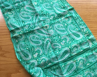 Vintage Silk Oblong Green Paisley Scarf Made in India- silk sari scarf, silk paisley scarf, oblong green paisley scarf, green oblong scarf