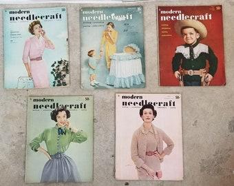 Lot of 5 MODERN NEEDLECRAFT Magazines from 1951 1952 1953 Retro Fashion