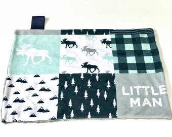 Navy Blue and Mint Little Man Deer Baby Boy MINKY Lovey Blanket, MINI Minky Baby Boy Blanket, Taggie Blanket, Woodland Baby Shower Gift