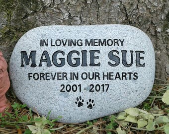 Pet memorial medium dog or cat sandcarved 6 to 7 inches river stone