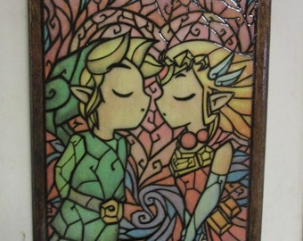 Legend of Zelda Stained Glass Hand Woodburned Plaque Link Color Pyrography