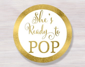 shes ready to pop stickers ready to pop tags cupcake toppers printable gold baby shower dcor ready to pop labels baby shower ideas - Ready To Pop Labels Template Free