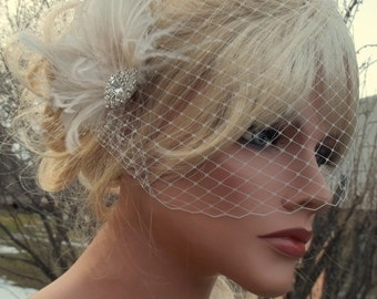 Wedding Fascinator, Bridal Veil, Great Gatsby Style, French Net Veil, Ivory Feather Hair Clip, Bridal Comb Wedding Hair Clip Ivory Bridal