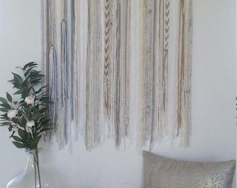 Yarn Tapestry, Yarn Wall Hanging, White, Beige, Ivory, Tan, Gray