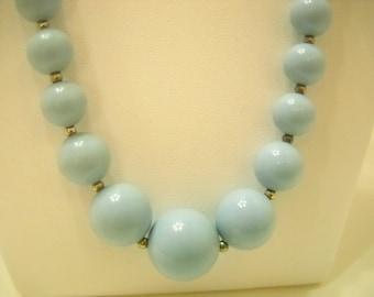 "Vintage 17"" Light Blue Plastic Beaded Necklace (4571)"