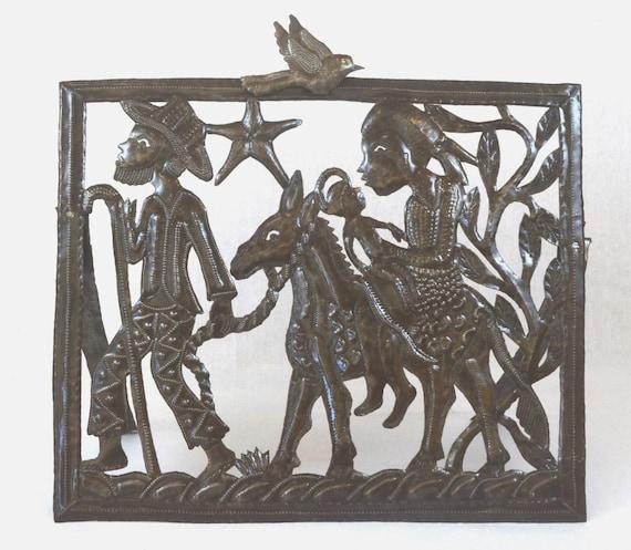 "Nativity, Epiphany, Flight to Egypt, Haiti Metal Art  20"" X 17"""