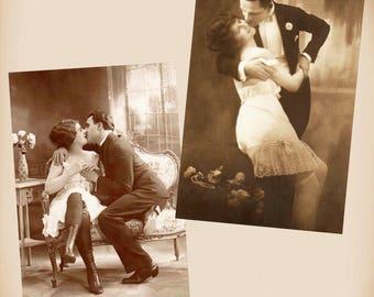 Playful Boudoir Couple 2 New 4x6 Vintage Postcard Image Photo Prints CP43 CP45