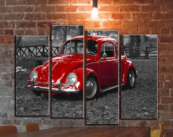 Big Set Of 4 Panels VW Volkswagen Bug Beetle Wall Canvas Art Vintage Classic Car Vehicle On Canvas Prints On Canvas Old Bug Photo Picture