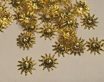 10 gold metal sun nail decor, 7 mm (S11)