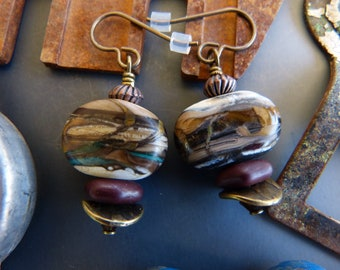 Etched Lampwork Glass Earrings