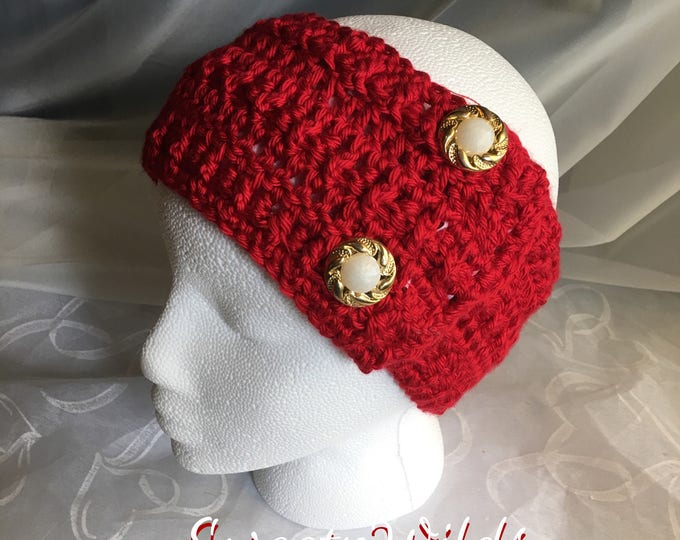 Crocheted Headbands -Womens Earwarmers -Fall Accessories -READY TO SHIP-Christmas Gift Ideas-Gold and Pear-Big Red Headband