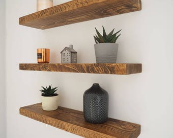 Rustic Floating Shelves | Chunky Wood Shelf | Mantel Timber Pine