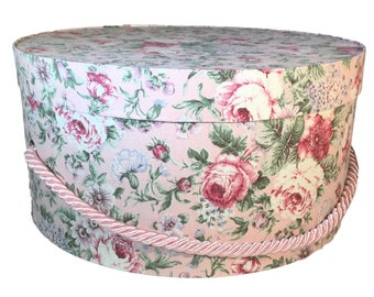 Hat Box in Pink Roses Fabric, Ready to ship! Round Box, French Cottage Decor, Fabric Covered Box, Box w Lid, Keepsake Box, Decorative Box