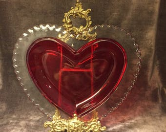 Vintage cranberry red glass heart valentine dish bowl