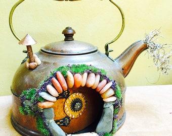 Fairy house teapot, fairy door that opens, hobbit door, hobbit house