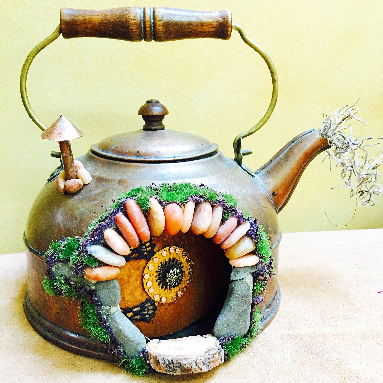Fairy house teapot fairy door that opens hobbit door hobbit