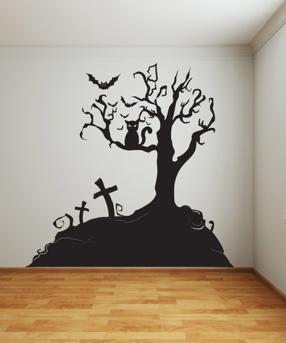 Perfect Vinyl Wall Decal Sticker Halloween Tree 1014s