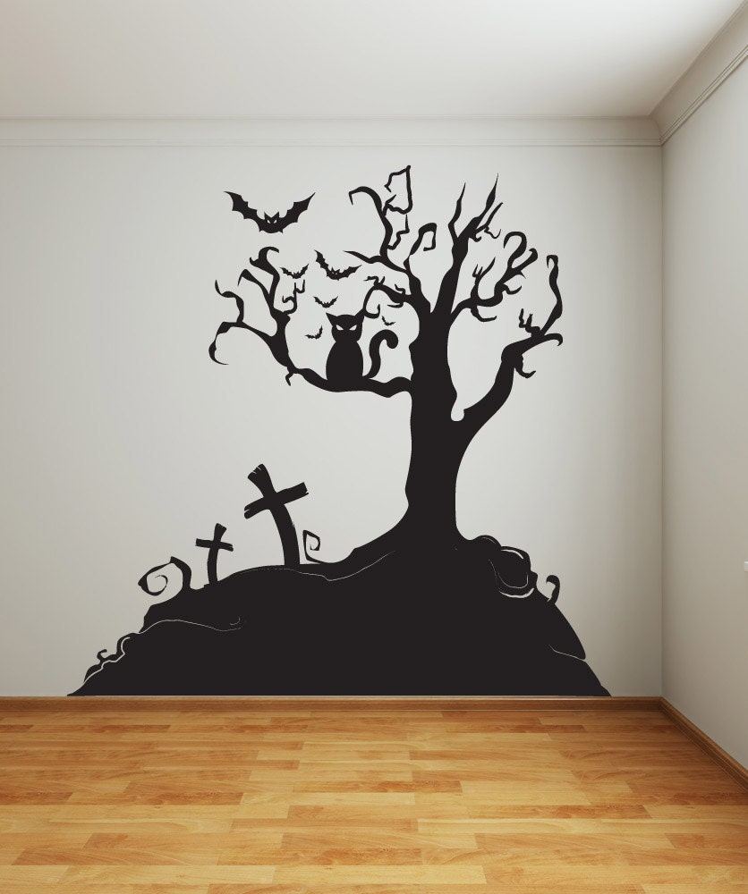 Vinyl Wall Decal Sticker Halloween Tree 1014s for Wall Sticker Tree Silhouette  56bof