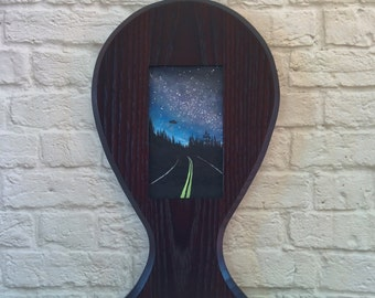 "Original Miniature Painting, ""The Truth is Out There"", Acrylic on Canvas, Custom Exotic Hardwood Frame"