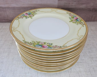 Meito China Bread and Butter Plates, Eleven China Plates, Vintage Meito China, Vintage Meito China Plates, Handpainted Meito China - V333
