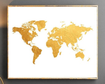 Watercolor world map world map wall art world map poster grey gold world map world map wall art gold world map poster golden world map watercolor wallpaper large world map watercolor map gold map travel gumiabroncs Gallery