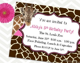 Giraffe invitations Etsy