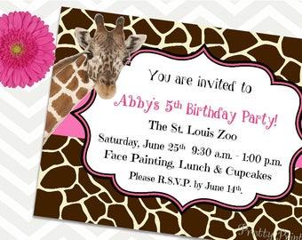 Giraffe Invitations, Birthday Invitations, Party Invitations, Safari Invitations, Zoo Party, Giraffe Party, Printable Invitations