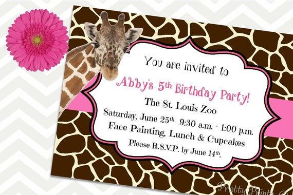 Giraffe Invitations, Birthday Invitations, Party Invitations, Safari Invitations, Zoo Party, Giraffe Party, Printable Invitations