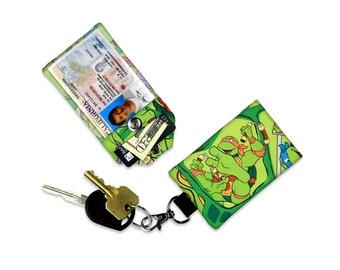 Michelangelo Teenage Mutant Ninja Turtles Mini Wallet Card Holder Keychain Clear ID Holder Small Wallet Student ID Badge Credit Card TMNT