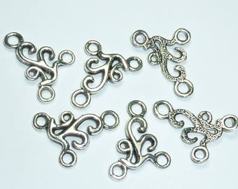 """5 connectors 24x17mm """"wave"""" in silver"""