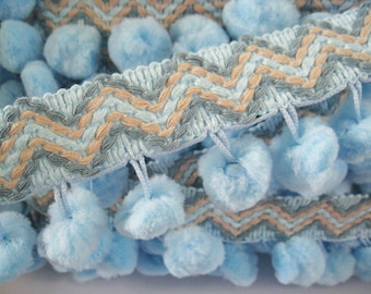 3 to 6 yards Extra Large Pom Pom with Zig Zag Trim - Choose your own yards - Baby Blue ( Pom pom size 2 cm or 3/4 inch)
