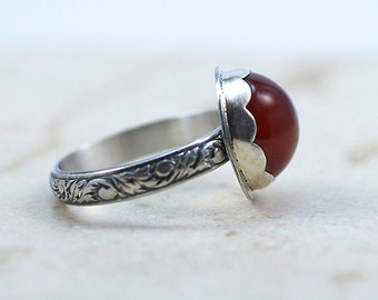 Carnelian Ring, Sterling Silver Floral Band, Scalloped Bezel, US Size 8.5, Ready to Ship, Carnelian Statement Ring, Cocktail Ring