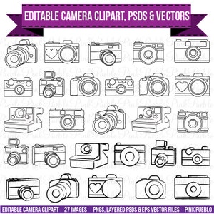 Camera Clipart Clip Art, Photography Logo Elements, Layered Editable PSDs and Vectors