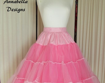 Pink two tone stiff net petticoat with sating binding