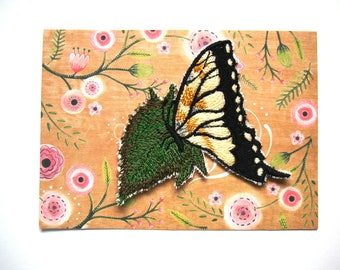 Yellow Swallowtail Butterfly on a Leaf Embroidery Patch Sew On Applique Fabric Embellishment 3 Inch 8 cm