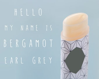 Bergamot Vegan Lip Balm Earl Grey All Natural Hand Made Lip Balm Essential oil  Aromatherapy Orange Fruit Glossy Wax Citrus Oval Tube