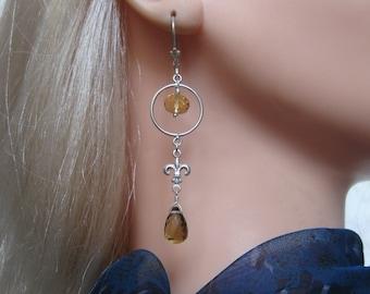 Silver Citrine Earrings with Fleur De Lis
